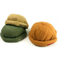 Adjustable Men Women Skullcap Sailor Cap Foldable Brimless Hat Retro Pumpkin YN