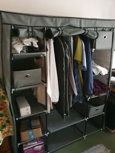 Gr8 Home Large Fabric Canvas Bedroom Wardrobe With Hanging Rail Shelving - Grey.