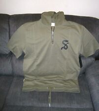 MENS SAINT MORTA GOTHIC 3/4 Sleeve Zip Hoodie PALE GREEN MEDIUM SIZE TIE UP HEM