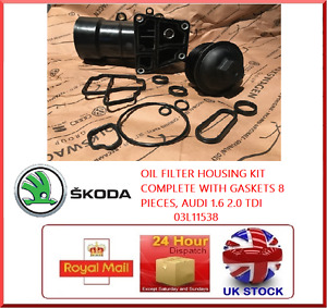 OIL FILTER HOUSING KIT COMPLETE WITH GASKETS 8 PIECES SKODA 1.6 2.0 TDI 03L11538