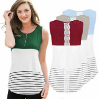 Fashion Women Striped Print Sleeveless Casual Blouse T-Shirt Tank Top Shirts
