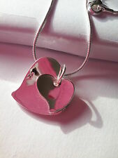 925 SILVER PLATED SNAKE CHAIN  DOUBLE FLAT HEART PENDANT CHAIN NECKLACE