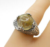 925 Sterling Silver - Cabochon Rutilated Quartz Cocktail Ring Sz 7.5 - R14216