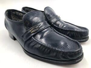 Florsheim Riva Moc Toe Navy Blue Gold Buckle Men's US 9 C ~ Business Shoes