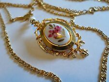 2-Strand Gold Tone Chain Necklace With Hand Painted Flowers Locket Pendant, 30""