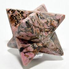 """2.6"""" Natural Pink Rhodonite 8 Point Merkaba Star Polished Crystal Mineral China"""