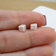 3D Cube Post Earrings - 925 Sterling Silver - Geometrical 3D Earrings Block Cube