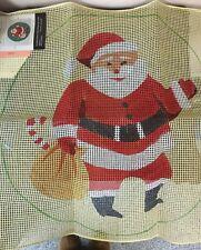 "Vintage Bernat Holiday Latched Rug Canvas ""Santa Claus"" #3407, No Frame"