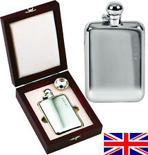 Hand Made Sterling Silver Sheffield Hip Flask 4oz Captive Top Free Engr LAST TWO