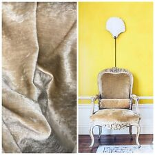 SWATCH- Designer Upholstery Antiqued Velvet Fabric - Antique Beige