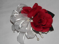 Handmade Red Silk Rose Wedding Prom Mother of Bride Corsage