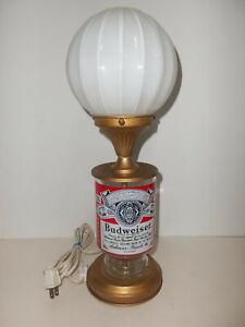 "Vintage Breweriana 17"" Budweiser King of Beers Metal and Glass Table Lamp WORKS"
