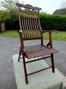 Superb Edwardian Art Nouveau Folding Mahogany Steamer Chair Circa 1910