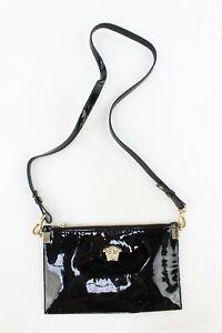 "Gianni Versace Womens Black Patent Leather ""Medusa"" Clutch/Crossbody Bag"