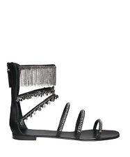 GIUSEPPE ZANOTTI CHAIN TRIMMED FRINGED SANDALS EU 38 UK 5