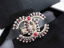 Chanel AUTH Byzantine Red Rhinestone Encrusted CC Logo Gold Tone Ring NIB 14A