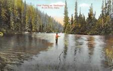 "Trout Fishing On ""Swiftwater"" St. Joe River, Idaho ca 1910s Vintage Postcard"