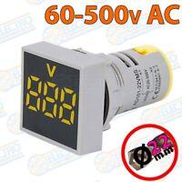 Voltimetro Digital Panel AC60-500v 22mm LED - AMARILLO - Arduino Electronica DIY