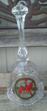 "Vintage Clear Glass Bell With Beautiful Painted Cardinals 8"" Tall"