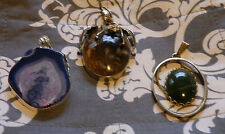 3 large gemstone Pendant Lot  - Druzy Geode, Agate, Purple Green Brown