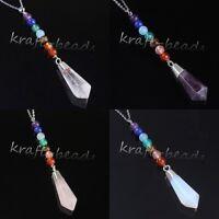Natural Healing Amethyst Quartz Crystal Hexagon Pendulum Chakra Pendant Necklace