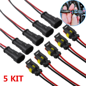 5 Kit Car Waterproof Electrical Wire Cable Automotive Connector 2Pin Way Plug
