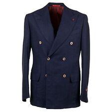 Isaia Navy Blue Diamond Jacquard Patterned Wool-Cashmere Sport Coat 38R (Eu 48)