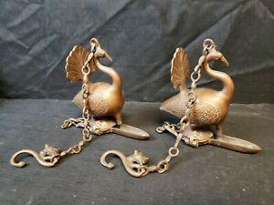 Antique Mughal India Bronze Brass Peacock Bird Hanging Oil Lamp Pair Set of 2