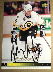 1993-94 UD #226 Autographed Adam Oates Signed Hockey Card Auto Boston Bruins !!