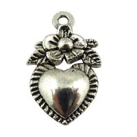 100X Antique Style Silver Tone Alloy Flower Heart Charms Pendants 16*12*2mm
