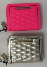 NWT REBECCA MINKOFF Mini Ava Zip Quilted Leather Wallet Pewter Elec. Pink Guava