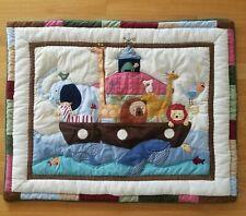 Kidsline Noahs Ark Applique Baby Crib Comforter Nursery Quilt Animals Blue Brown