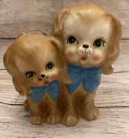VTG CERAMIC BROWN DOGS BLUE BOWS PLANTER VASE SPANIELS MADE IN JAPAN