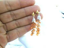 10k gold Oregon Sunstone Briolette Diamonds Peridot dangle earrings STUNNING!