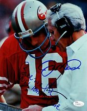 New listing HOF'ers Bill Walsh & Joe Montana signed 8x10 San Francisco 49ers w/ JSA COA