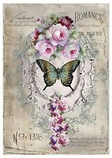 Shabby Chic Wall Art Plaque Decor Romance Roses and Butterfly 28 x 40 (A3)