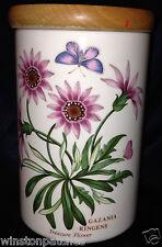 "PORTMEIRION BOTANIC GARDEN STORAGE JAR WITH WOOD LID 7"" TREASURE FLOWER"