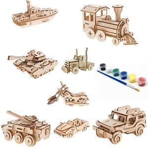 Kids model kits wood DIY craft - set of 6 items, train, boat, truck, Jeep +2Tank
