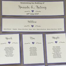 Handmade Personalised Vintage Heart Table Seating Plan Names Individual Cards