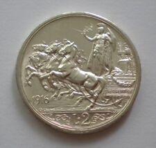 Italy 2 Lire 1916 Quadriga KM#55 Silver Coin ** UNC