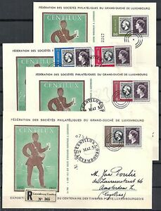 Luxembourg 1952 MI 490-494 on FDC PPCs+cover