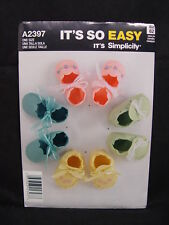 NEW Simplicity It's So Easy A2397 Baby Infant Booties Pattern 2 Styles 2397