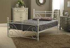 Sienna Small Double 4ft  Metal Frame Bed In Ivory White ** FRAME ONLY **
