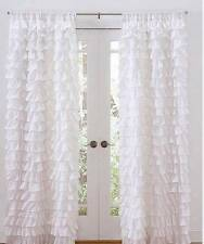 Set of 2 Shabby French Chic White Petticoat Ruffle Tiered Curtains Drape Panels