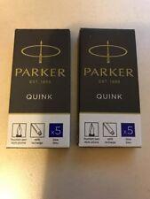 Parker Quink Cartridges Classic Ink Refills Standard Blue Ink (2 x Packs of 5)