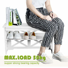 White WPC Shoe Rack Storage Bench Seat Organiser Shelf Holder Stand US Seller