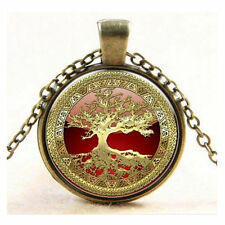 funky Steampunk/Pagan/Vintage Life Tree Necklace Pendant Glass Cabochon Jewelry
