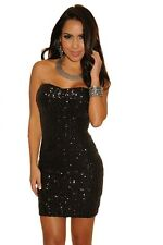 Sparkle Night Club Sequined Strapless Mini Dress Black Small
