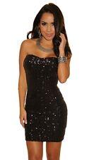 Sparkle Night Club Sequined Strapless Mini Dress Black Medium