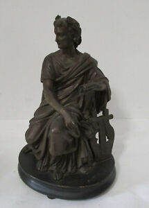 Antique 1840's Metal Statue on Wood Base